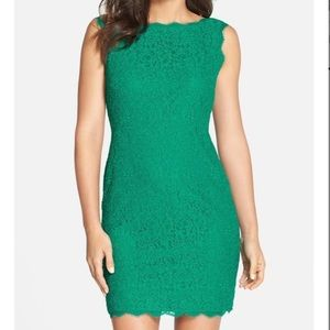 Adrianna Papell Emerald Lace Cocktail Dress